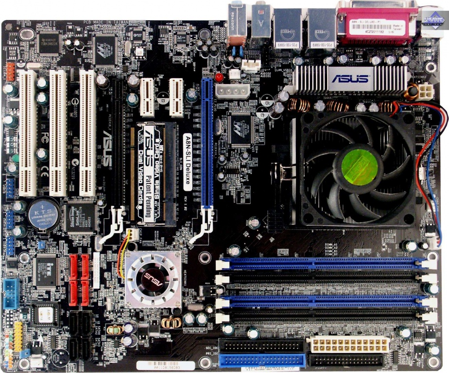 Asus a8n 32-sli-deluxe nvidia socket 939 atx motherboard / audio.