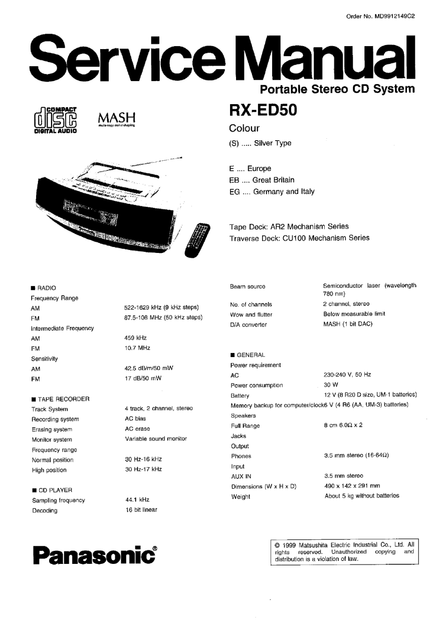 Service Manual Panasonic Rxed50  U2014 Download Free